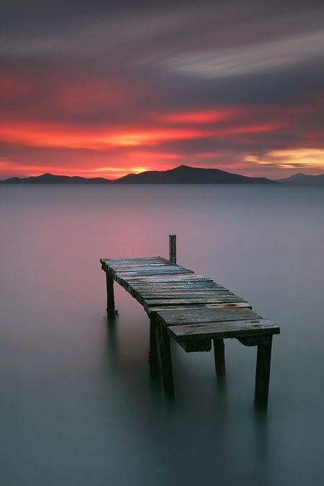~~old pier, misty tranquil water ~ sunset, Bodrum, Turkey by Photographer Kani Polat~~