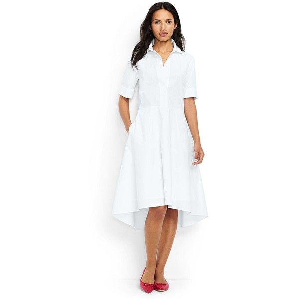 Lands' End Women's Petite Short Sleeve Popover Shirtdress ($69) ❤ liked on Polyvore featuring dresses, white, petite white dresses, white shirt dresses, petite shirt dress, slim fit dress and t-shirt dresses