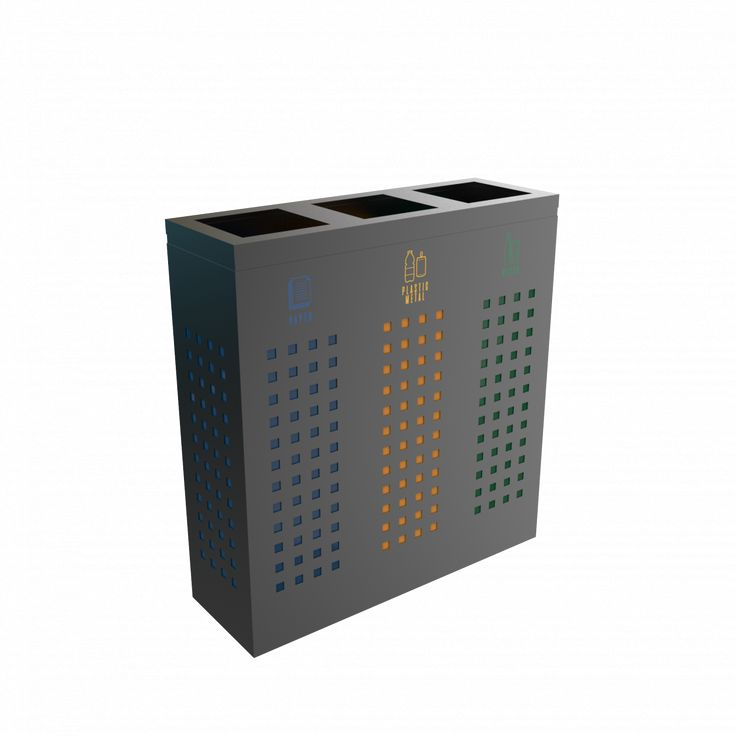 ALBRIS PC - Office style powder coated metal recycling bin station