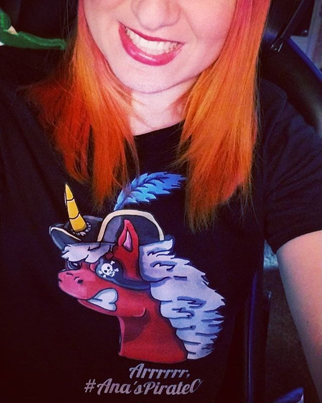 Arrrrr I finally got one of my #anaspiratecrew Swag pieces! It's so soft and pretty epic! (design by @gorivian)  Order yours today anatlus89.com/shop And join the crew! . . . #bemorepirate #sot  #gaming#streaming #videogames #games #twitch #twitchlove #pirate #unicorn #dyedhair #hairdye #redhead #redhair #Phoenixhair #Phoenix #firehair #punkyhair #punkycolour #selfie #PirateUnicorn