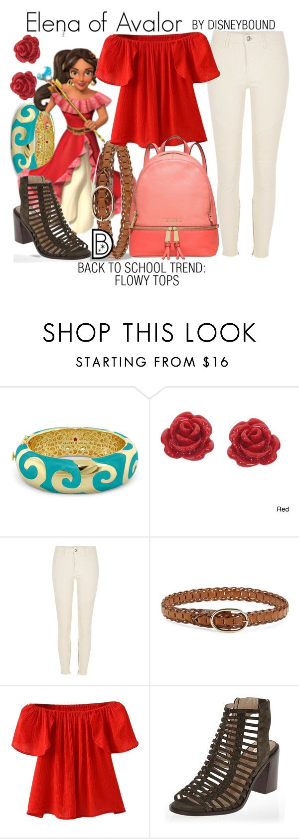 """""""Elena of Avalor"""" by leslieakay ❤ liked on Polyvore featuring Lauren G Adams, Eternally Haute, Disney, River Island, Steve Madden, WithChic, Michael Kors, BackToSchool, disney and disneybound"""