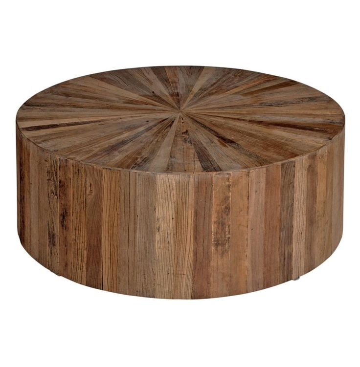 Delightful Round Wooden Drum Coffee Table
