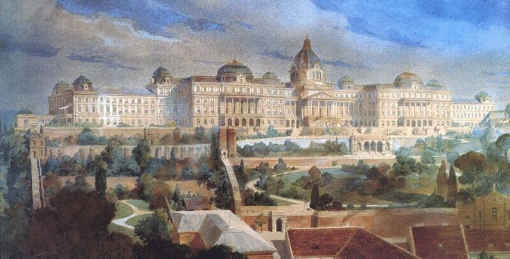 Róbert Nádler: The plan of the eastern facade of the Royal Palace of Buda, 1900