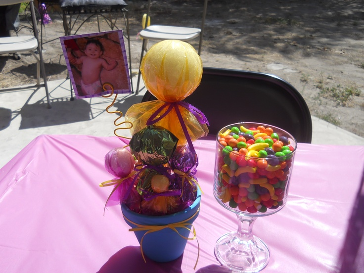 small candy centerpiece with photo. | For Paula's 3rd BDay ...