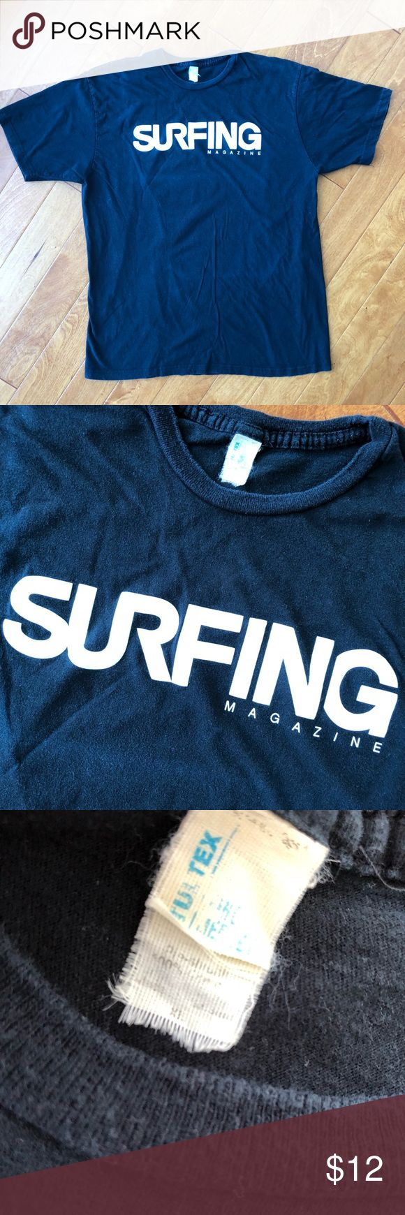 Vintage Surfing Magazine t-shirt XL As pictured black shirt with white writing. No stains. Smoke free home. Shirts Tees - Short Sleeve