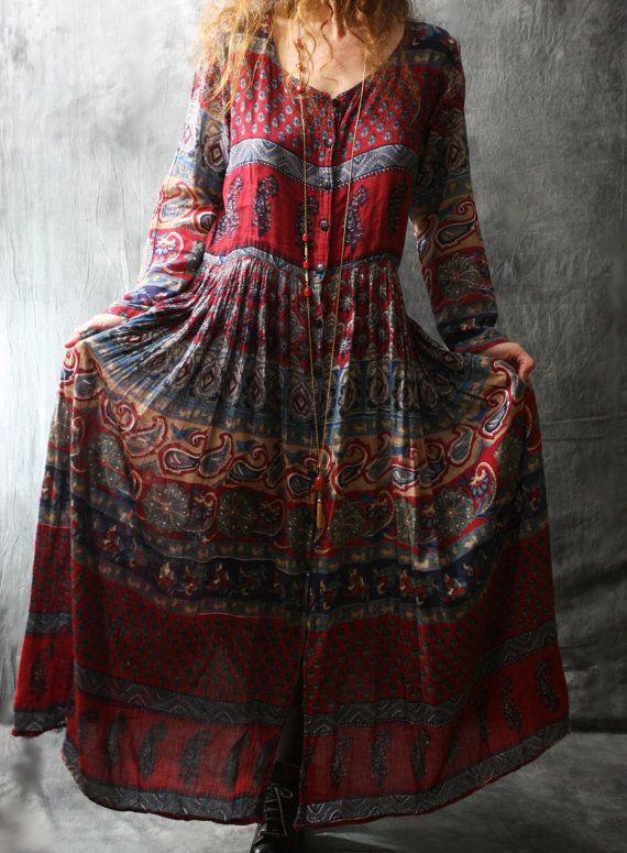 Vintage 1970s Woodstock Hippie Mama Festival Dress by MajikHorse, $80.00