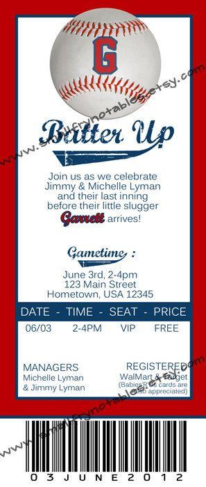 baseball ticket style baby shower birthday party printable invite