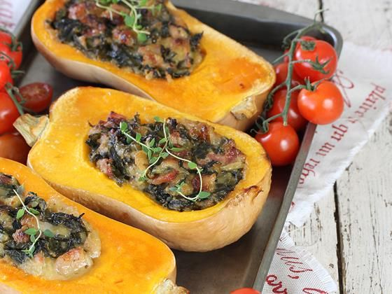 Butternut with spinach, cheese and bacon filling | Gevulde botterskorsie-resep #recipe