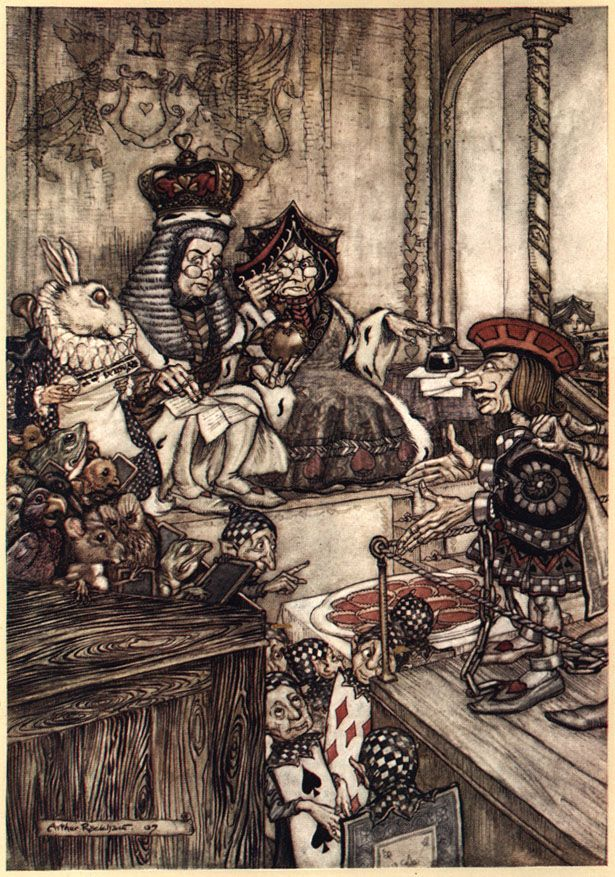 Who stole the tarts - Arthur #Rackham's #Alice in #Wonderland Illustrations