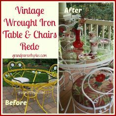 vintage wrought iron table and chairs redo, outdoor furniture, painted furniture