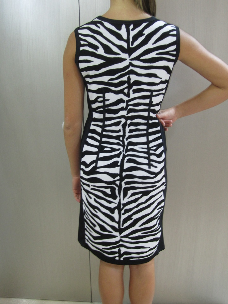 Back of black and white zebra print dress