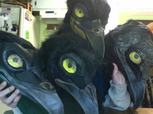 Step 5. Eye coverings are flat marbles from the craft store and faux black fur. Fur is all hot glued on and there's some super thin stretchy fabric in the tear duct holes so it can be seen out of.