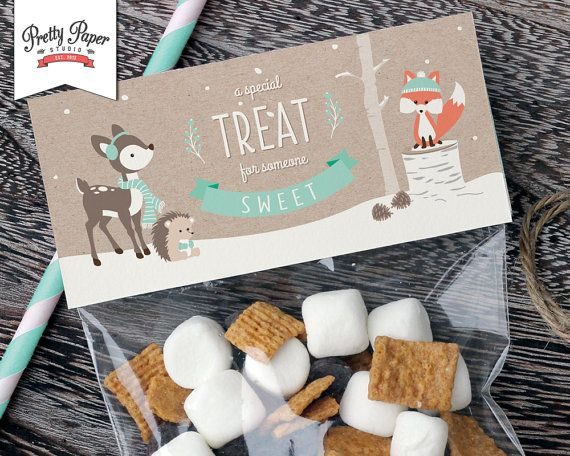 Winter Woodland Treat Bag Toppers // INSTANT DOWNLOAD // Favor Bags // Fox Birthday Party Decoration // Boy or Girl // Printable BP04 By Pretty Paper Studio