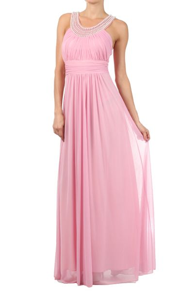 Long Bridesmaid Dress with Beaded Neckline