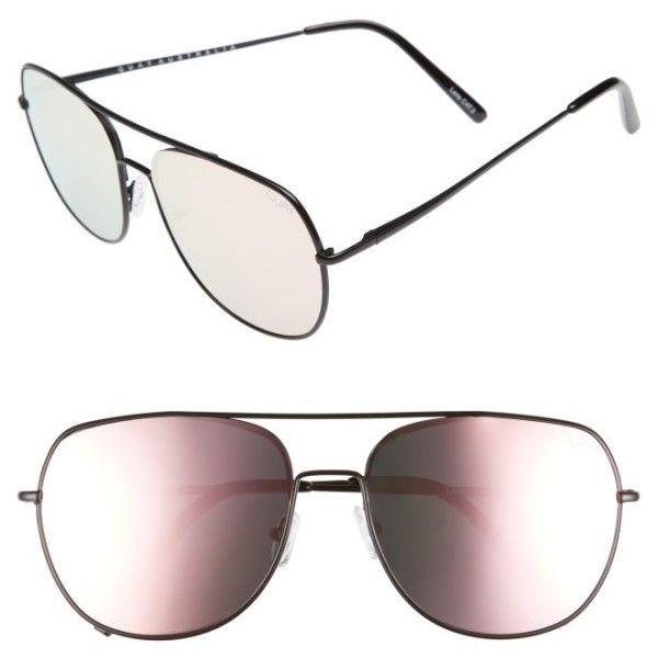 Women's Quay Australia Living Large 60Mm Mirrored Aviator Sunglasses ($37) ❤ liked on Polyvore featuring accessories, eyewear, sunglasses, aviator sunglasses, quay glasses, mirror lens aviator sunglasses, mirror sunglasses and pink sunglasses