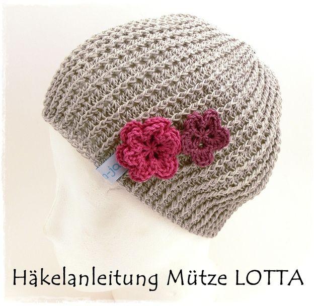 """Häkle dir deine neue Mütze mit süßen Blümchen und schönem Strukturmuster.   Ein schönes Accessoire,aus temperaturausgleichender Baumwolle ideal für die """"Übergangszeit"""", den Frühling und..."""