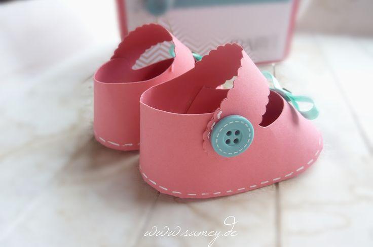 lovely Paper Baby Shoes, Baby Schuhe aus Papier, originelle Geschenkidee zur Geburt, Geburt, Baby, Gutschein, Verpackung, Sandra Kolb, Stampin´UP!, www.samey.de,