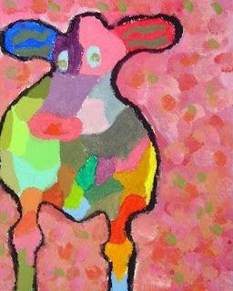 Tekenen en zo: Kleurrijke koe, in de stijl van Peter Diem