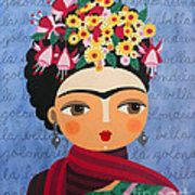 Frida Kahlo With Fuschias And Lantanas Print by LuLu Mypinkturtle
