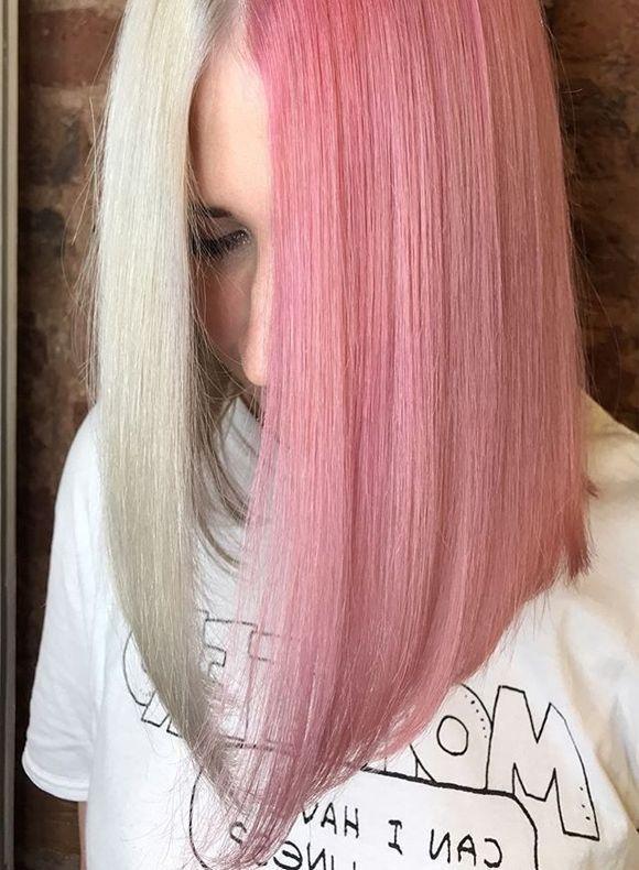Rose And White Toner Split On Long A Line Rose And Aline Long Rose Split Toner White Rose And White T In 2020 Split Dyed Hair Half Colored Hair Brown Hair Dye