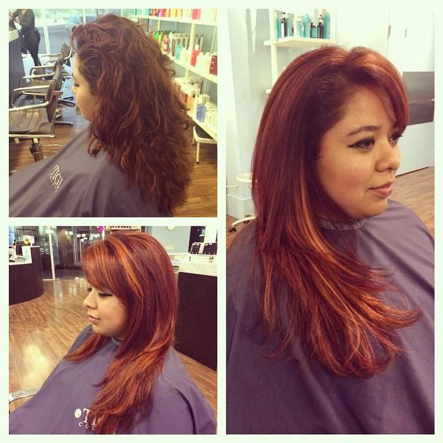 Sombre Red with Copper = Gorgeous. Hair by Raul Mendoza. Before and after pics. #fringehairstudios #copperhair #longhair #boldcolor #sombre #redhair #fashionforward #trendsetters