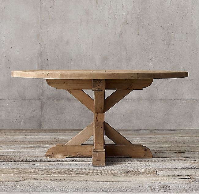 Salvaged Wood X Base Round Dining Table Dining Table Round Wooden Dining Table Round Dining Table
