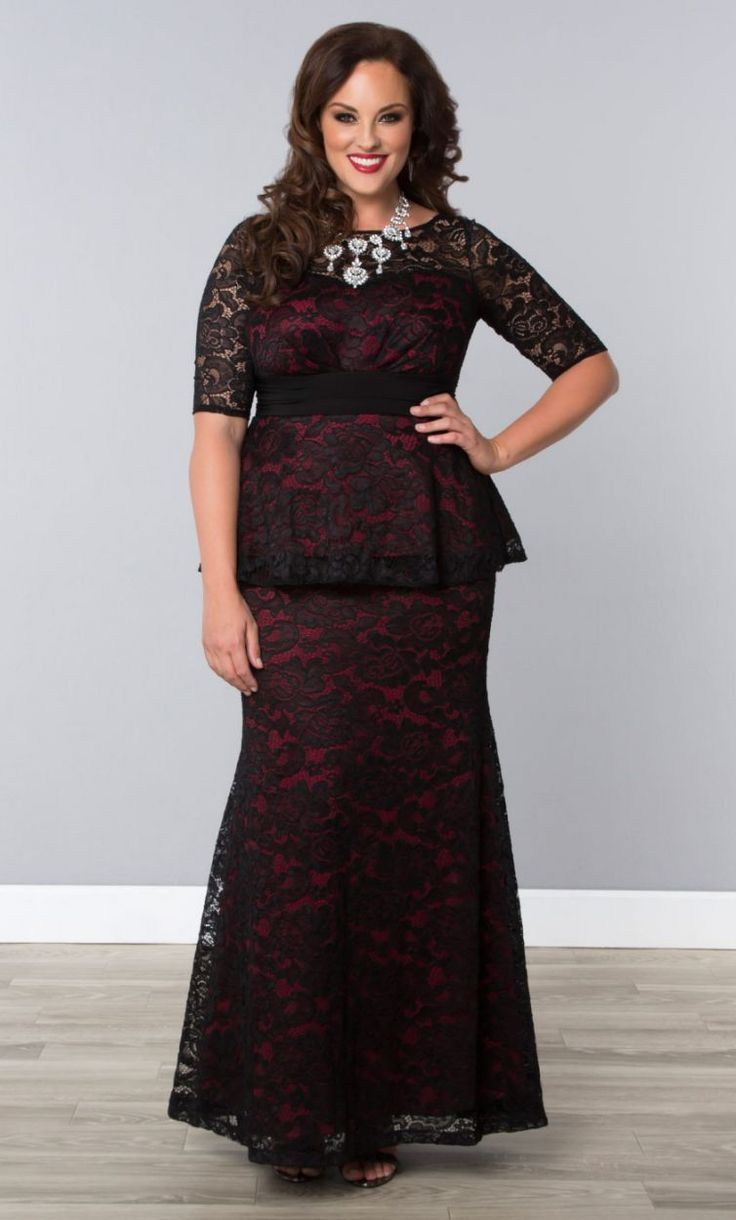 Astoria Lace Peplum Gown
