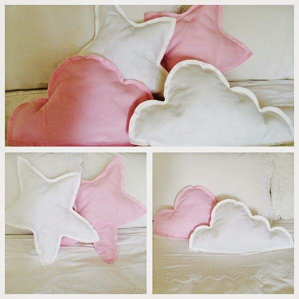 DIY TUTORIAL CLOUD AND STAR BABY CUSHIONS   http://etralalondon.blogspot.co.uk/2014/07/diy-cloud-star-baby-cushions.html