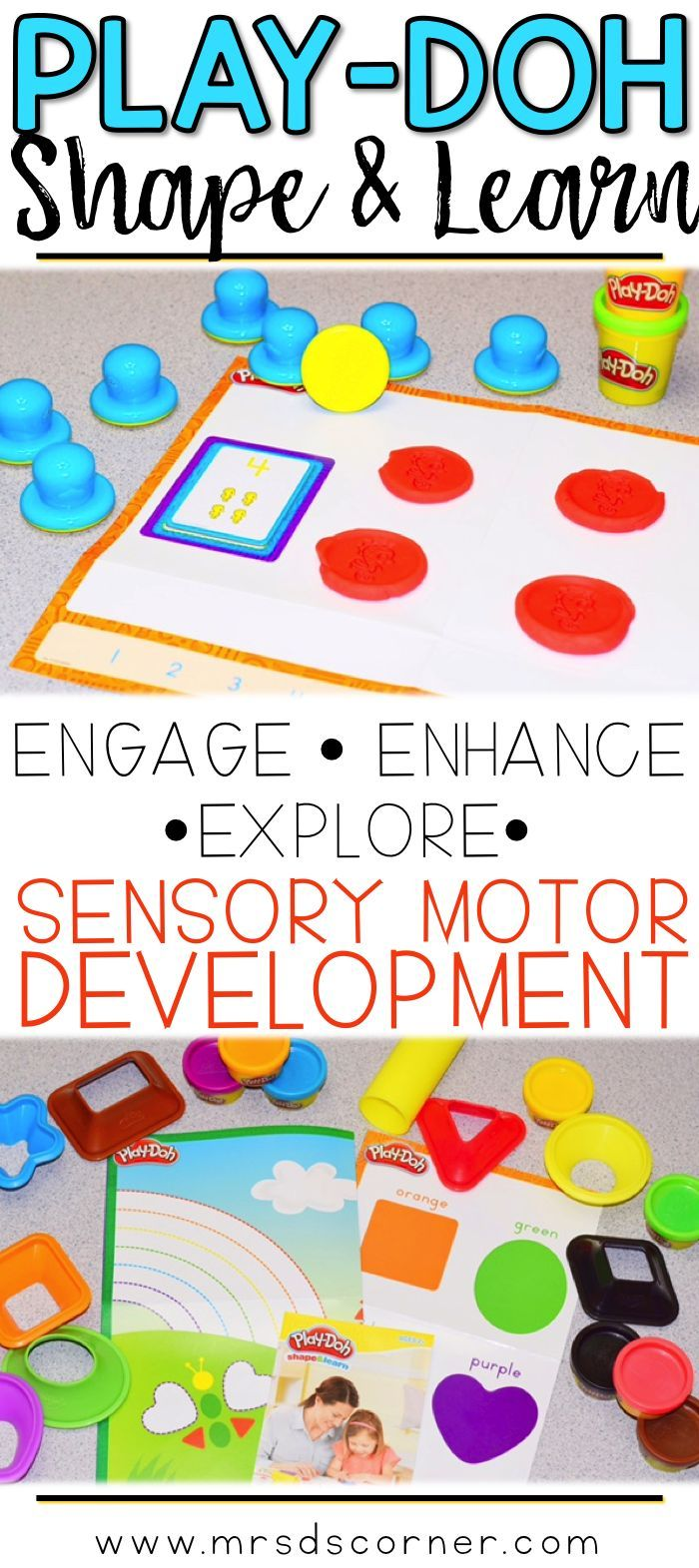 Engage and explore with PlayDoh's Shape and Learn sets. Perfect for enhancing sensory motor development and fine motor skills. Make learning fun with PlayDoh! Blog Post at Mrs. D's Corner.