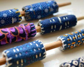 12 Hand Stitched Fabric Beads