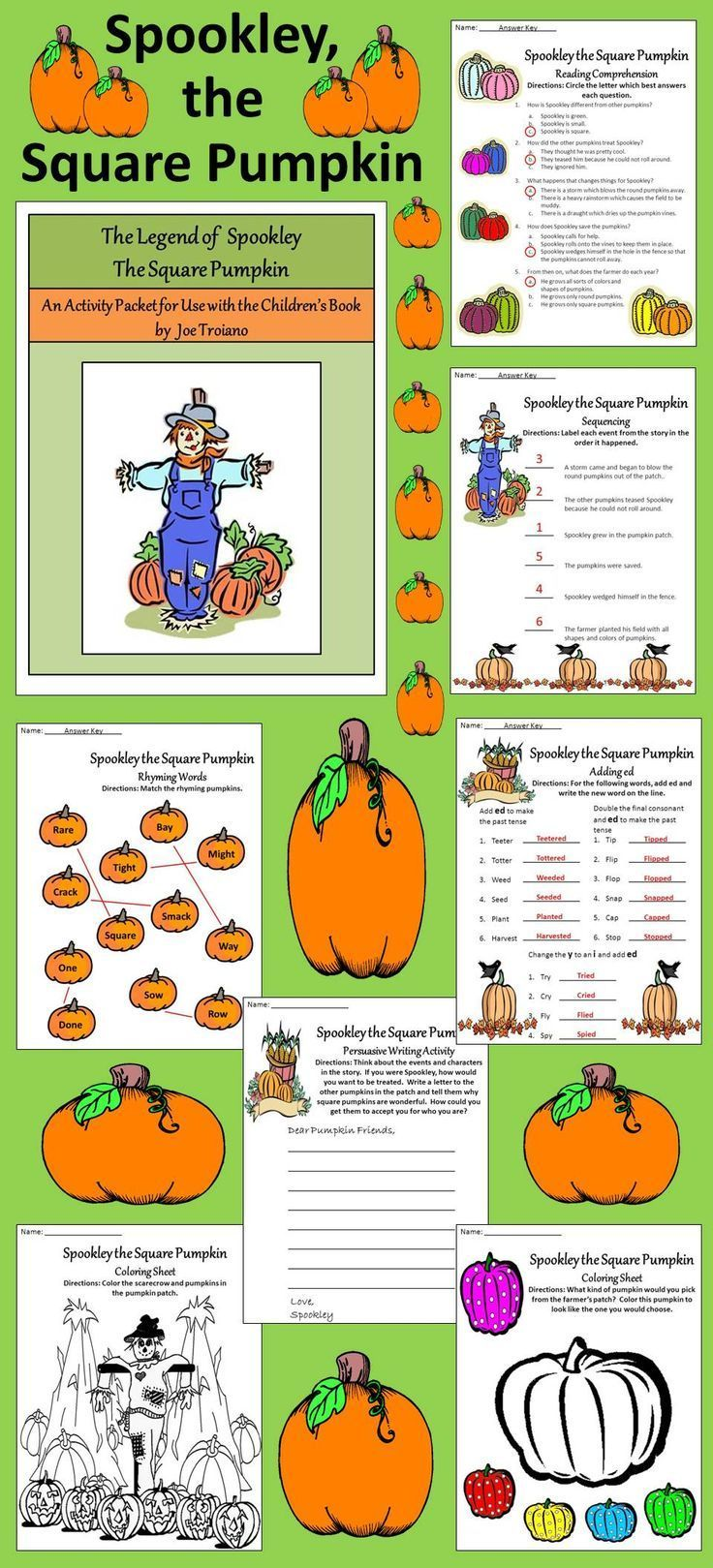 17 best images about halloween language arts ideas pumpkin activities spookley the square pumpkin book activities bundle