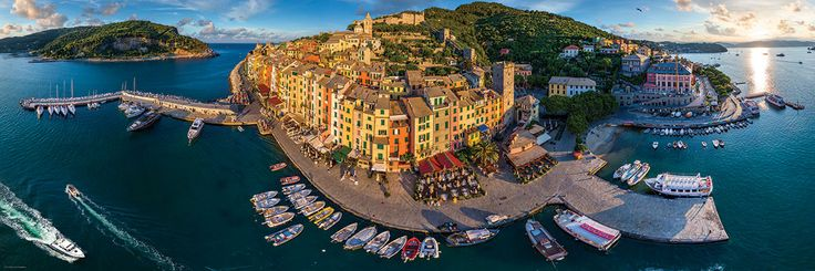 360º Panoramic photography. Porto Venere, Italy. 1000 pieces. 39 inches wide by 13 inches high.
