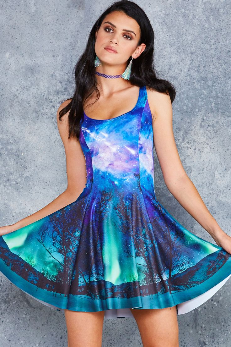 Forest In The Sky Evil Skater Dress ($85AUD) by BlackMilk Clothing