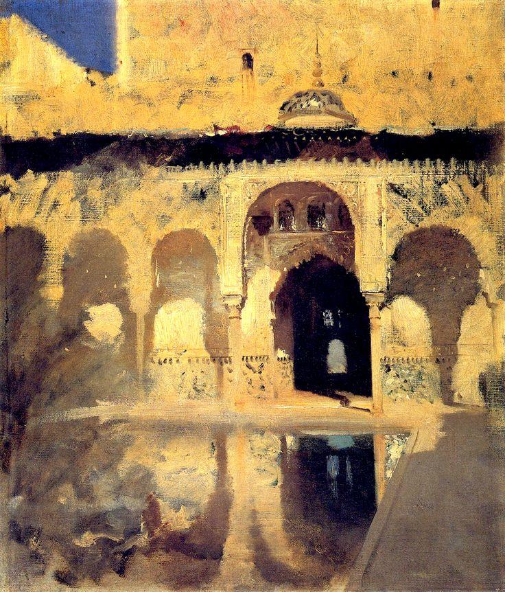 John Singer Sargent. Alhambra, Patio de los Arrayanes, 1879. Oil on Canvas.  22.6 x 19.2 in (57.5 x 48.8 cm)