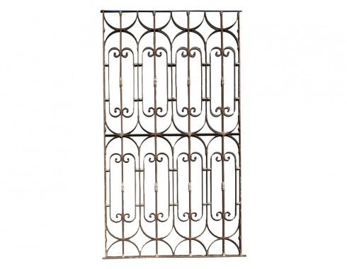 Wrought iron fence. Hang flat over kitchen island for pot rack.