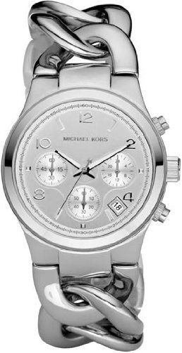 Michael Kors Chronograph Chain Bracelet Ladies Watch MK3149 Michael Kors. $179.00. Case Size:  29mm Diameter, 10mm Thickness. Precise Japan Quartz Movement. Mineral Crystal, Date Display, Silver Tone Hands and Markers, Chronograph Function. Water Resistant - 30M. Stainless Steel Case and Band, Easy Link Removal System