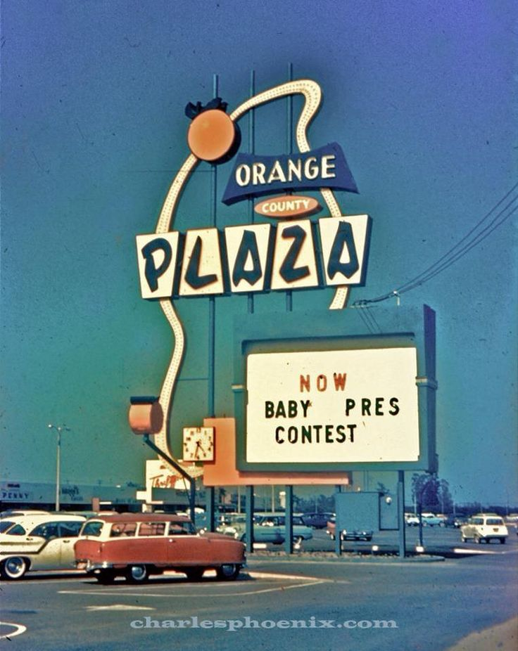 "Sign at the ""Orange County Plaza"", northwest corner of Chapman & Brookhurst, Garden Grove, Orange County, California. Photo from Charles Phoenix Facebook Page."