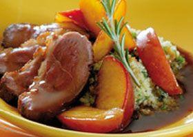 Eendenborst met perzik en bulgur met fijne kruiden recept | Solo Open Kitchen
