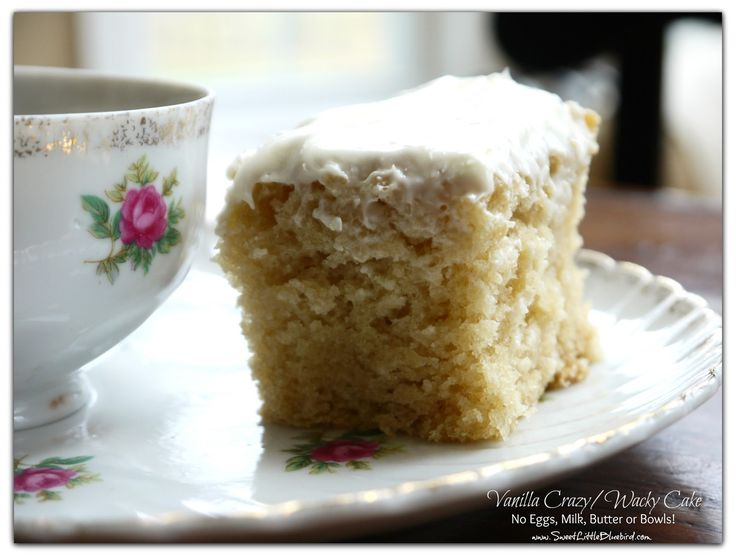 Vanilla Crazy Cake (also know as Wacky and Depression Cake) No Eggs, Milk, Butter or Bowls!  Super Moist & Delicious! | SweetLittleBluebird.com