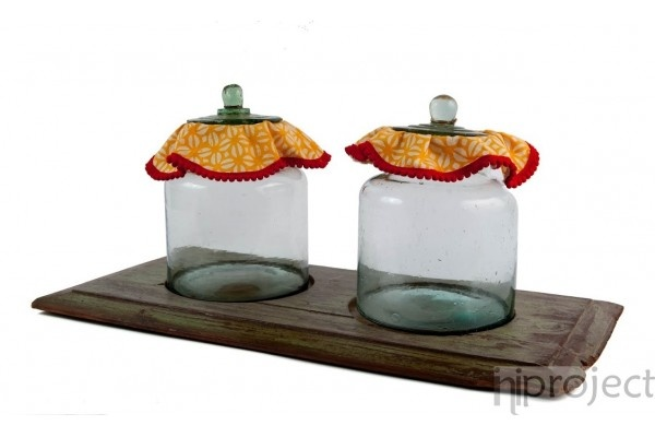 Twin Yellow Kawung Vintage Jars on Vintage Teak Tray