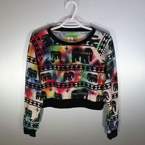 Elephant Print Sweatshirt Crop Top #TieDye Tumblr Fashion California Rainbow Yoga Festival Outfit Boho Party Aztec Girls Womens Size: M #Etsy shop https://www.etsy.com/ca/listing/600521475/elephant-print-sweatshirt-crop-top-tie