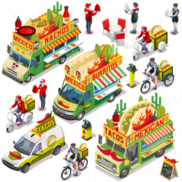 Mexican Food Truck Van Delivery Vector Isometric Vehicle Set by aurielaki Mexican take away isolated food truck and white car or van for burrito fast home delivery vector infographic bundle. 3D Isometric