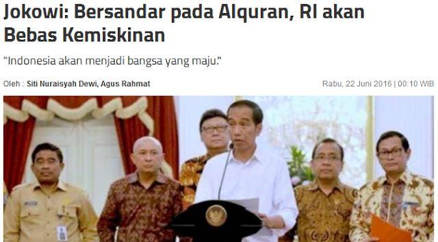 Papar Jokowi, Alquran diturunkan melalui Nabi Muhammad SAW untuk menjadi rahmat bagi semua umat. Juga menjadi sumber dari ilmu pengetahuan, guna membimbing manusia menjadi lebih baik.