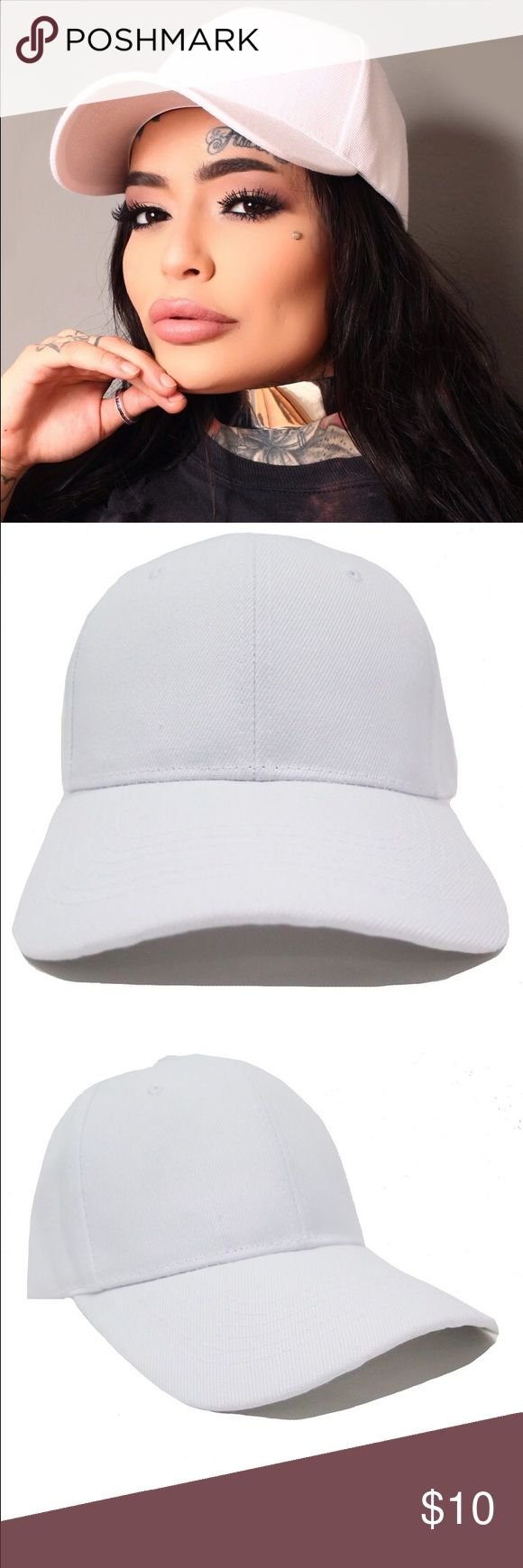 Solid white dad hat Adjustable Velcro backing new ! www.jngl.us Accessories Hats