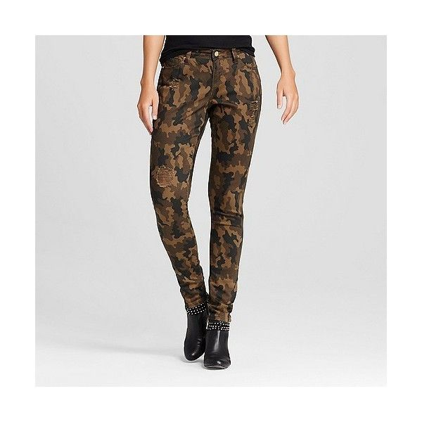 Poetic Justice, Women's Curvy Destructed Camo Skinny Jeans Army Green ($58)  ❤ liked - Best 25+ Camo Skinny Jeans Ideas On Pinterest Camo Leggings