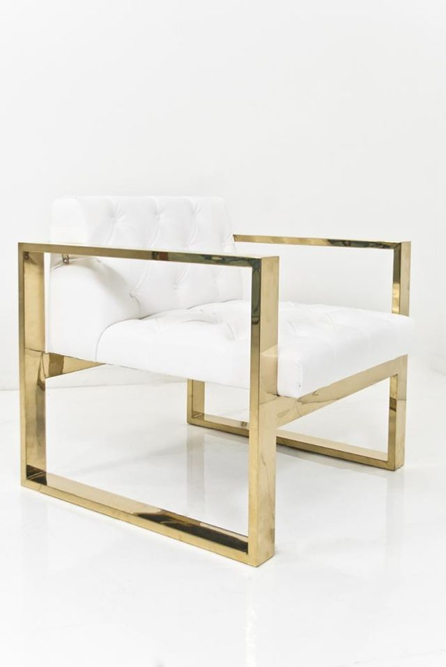 """A geometric form melds with the all tufted seat to create this wonderfully comfortable yet striking Kube Chair. Finished in Ford White Faux Leather and a brass U-Leg Frame. 31.5"""" x 31.5"""" / 27.5"""" Tall"""