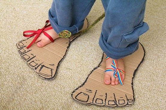 Ever walked a mile in Goliath's shoes? Try making #Goliath's feet out of old cardboard boxes.