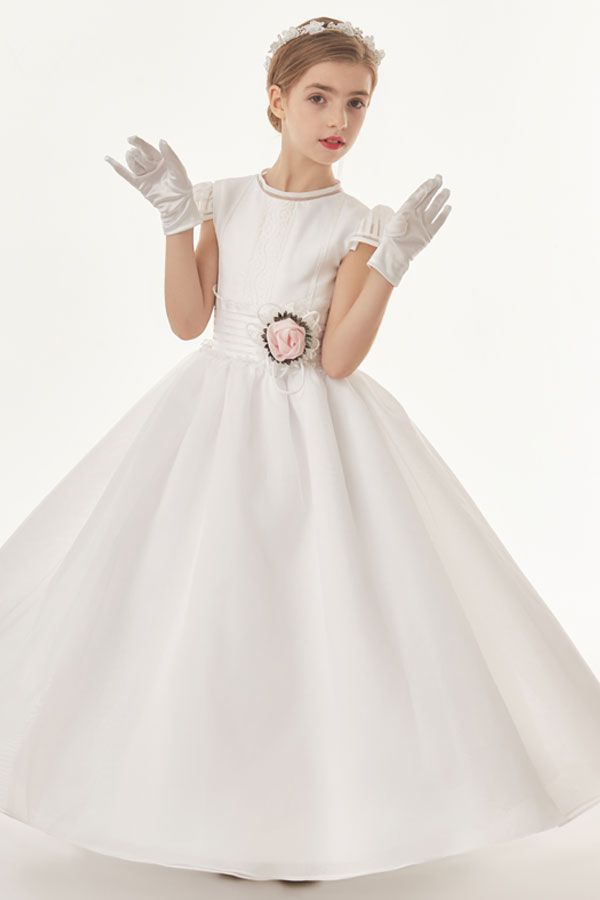 Organza Ball Gown Cap Sleeves Bow(S) Floor Length Communion Dress With Flower