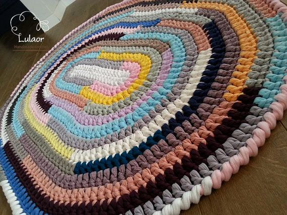 Crochet Oval Rug T Shirt Yarn Fabric Ellipse By Lulaor