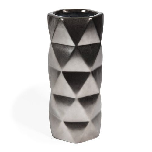 vase en gr s argent mat capitonnage maisons du monde mdm contemporain pinterest vase. Black Bedroom Furniture Sets. Home Design Ideas